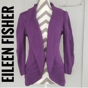 Eileen Fisher Cashmere Cotton Open Front Cardigan